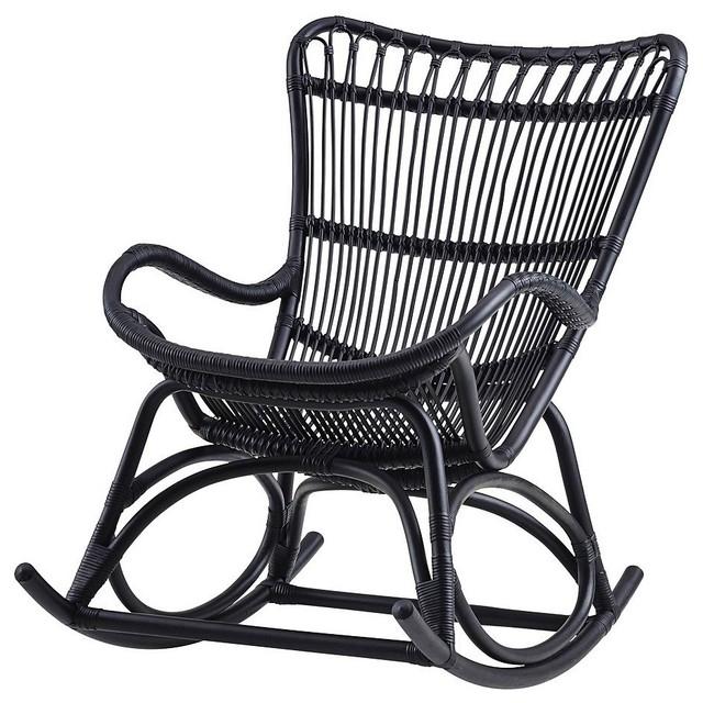 Black Rocking Chairs In 2018 Monet Indoor Rattan Rocking Chair Matte Black Black Ladder Back Chairs (View 4 of 20)