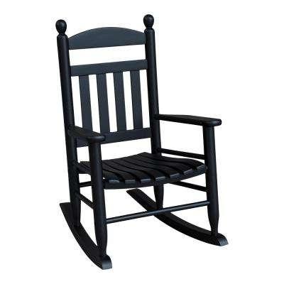 Black Rocking Chairs Regarding Trendy Wood – Black – Rocking Chairs – Patio Chairs – The Home Depot (View 9 of 20)