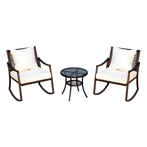 Brown Wicker Patio Rocking Chairs Within Famous Outsunny 3 Piece Outdoor Outdoor Pe Rattan Wicker Patio Rocking (View 9 of 20)