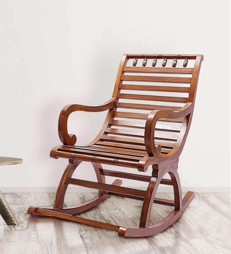 Buy Chelmsford Teak Wood Rocking Chair In Composite Teak Finish Within Fashionable Rocking Chairs (View 3 of 20)