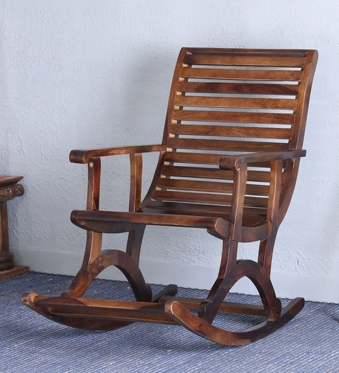 Buy Wellesley Solid Wood Rocking Chair In Provincial Teak Finish Pertaining To Most Popular Rocking Chairs (View 4 of 20)