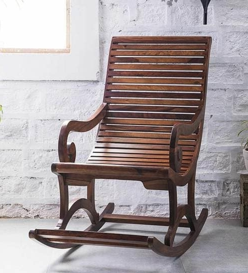 Buy Wellesley Solid Wood Rocking Chair In Provincial Teak Finish With Famous Rocking Chairs (View 11 of 20)