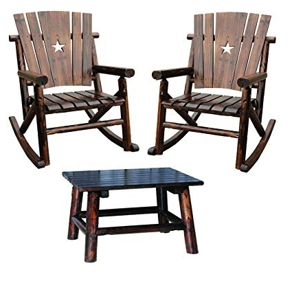 Char Log Patio Rocking Chairs With Star Regarding Best And Newest Amazon : Leigh Country Char Log Rocker Chair Combo (Star Rocker (View 6 of 20)