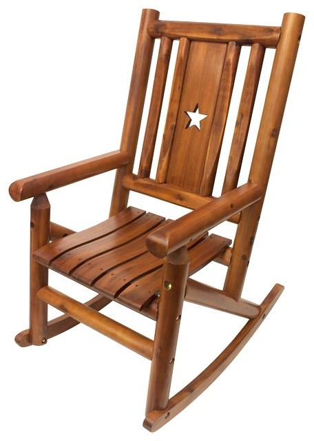 Char Log Rocker Amber Log Star Single Porch Rocker Southwestern With Well Known Char Log Patio Rocking Chairs With Star (View 7 of 20)