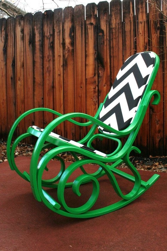 Chevron Fabric, Rocking In Upcycled Rocking Chairs (View 6 of 20)