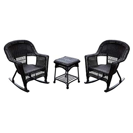 Current Amazon : Jeco 3Pc Wicker Rocker Chair Set In Espresso With Brown Within Wicker Rocking Chairs Sets (View 4 of 20)