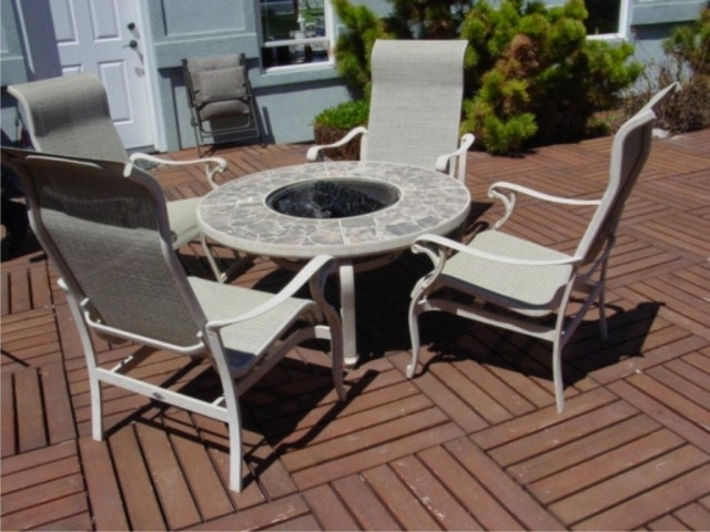 Current Hampton Bay Fire Pit & 4 Rocking Patio Chairs (View 4 of 20)