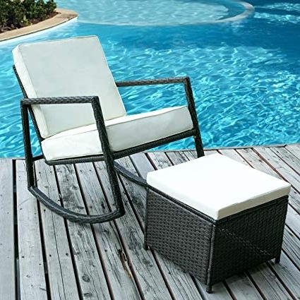 Current Patio Rocking Chairs With Ottoman Throughout Amazon : Merax Rattan Rocker Chair Patio Wicker Rocking Armed (View 16 of 20)