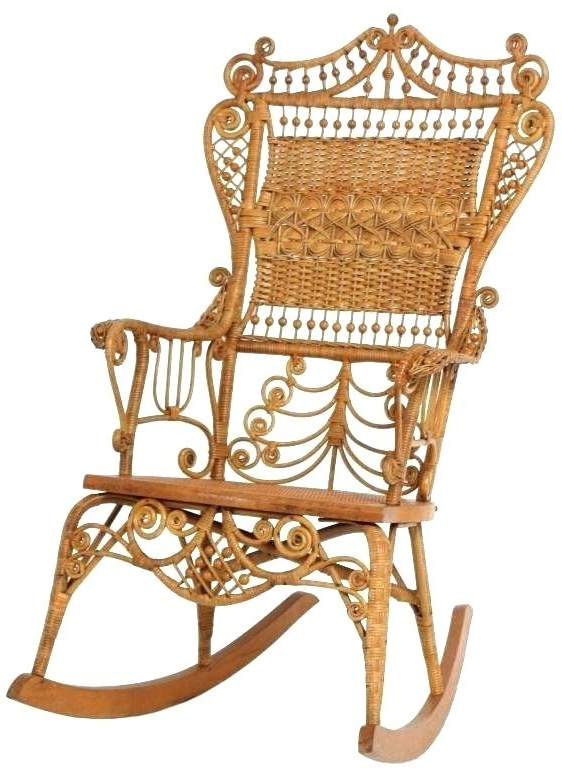 Current Vintage Wicker Rocking Chairs Regarding Antique Wicker Rocking Chair Antique Wicker Rocking Chair White Ebay (View 20 of 20)