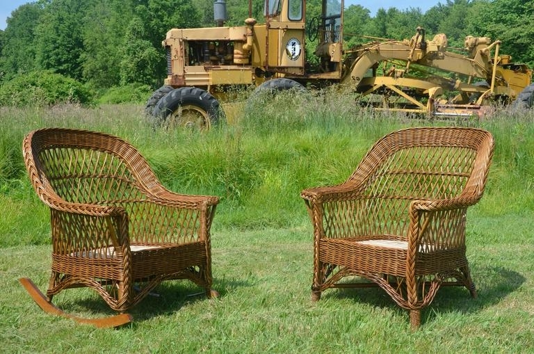 Famous Antique Wicker Rocking Chairs With Springs Throughout Antique Heywood Wakefield Bar Harbor Wicker Chair And Rocker Set At (View 11 of 20)