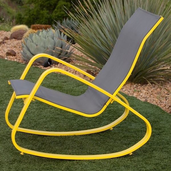 Famous Patio Sling Rocking Chairs Intended For Shop Eero Aluminum Sling Seat Patio Porch Deck Rocking Chair – Free (View 4 of 20)
