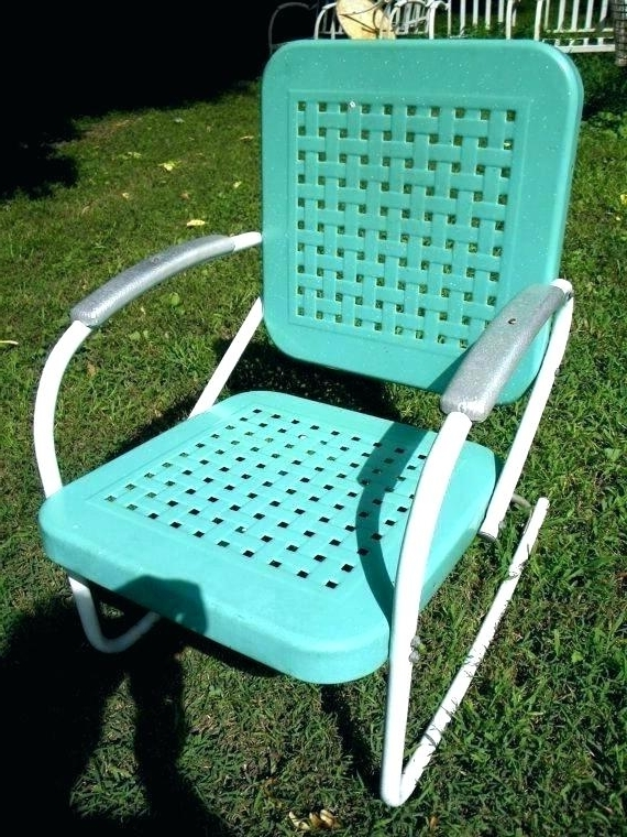Famous Vintage Metal Rocking Patio Chairs With Regard To Vintage Metal Patio Chairs Retro Outdoor Furniture Rocking Lawn (View 2 of 20)