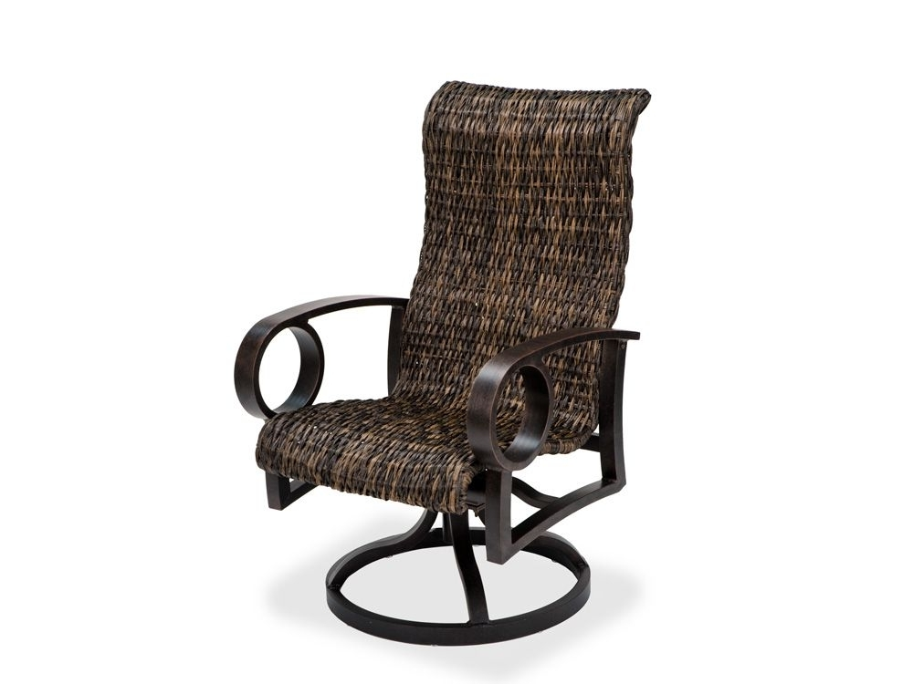 Fashionable Aluminum Patio Rocking Chairs Regarding Eclipse Woven Dining Aluminum And Resin Wicker High Back Swivel (View 11 of 20)