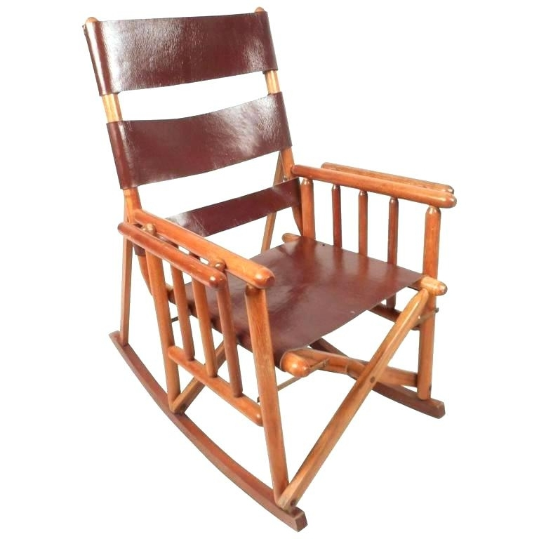 Fashionable Folding Rocking Chairs Throughout Furniture Mid Century Modern Leather Campaign Folding Rocking Chair (View 6 of 20)