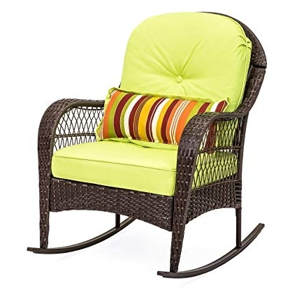 Fashionable Outdoor Wicker Rocking Chairs With Cushions Inside Amazon : Best Choice Products Wicker Rocking Chair Patio Porch (View 9 of 20)