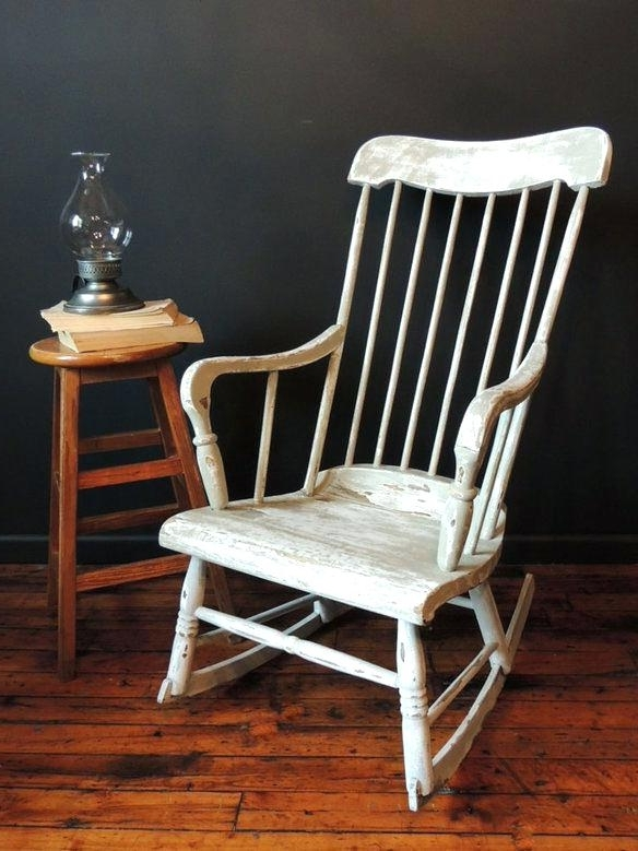 Fashionable Retro Rocking Chairs In Vintage Rocking Chair Old Rocking Chair With Leather Seat (View 5 of 20)