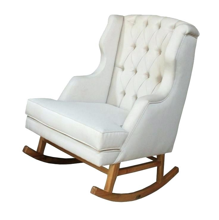Fashionable Upholstered Rocking Chair White Fabric Rocking Chair Rustic Outdoor Intended For Upholstered Rocking Chairs (View 10 of 20)