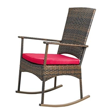 Favorite Amazon : Apex Living Kd Wicker Rocking Chair Patio Leisure Chair In Red Patio Rocking Chairs (View 15 of 20)
