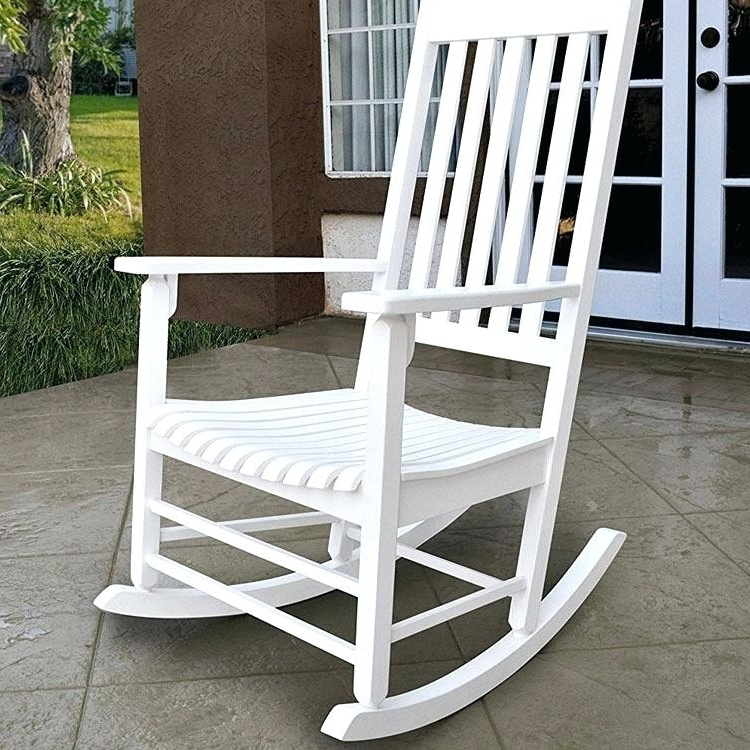 Favorite White Vinyl Rocking Chair White Wood Porch Rocking Chair On Patio With Regard To Outdoor Vinyl Rocking Chairs (View 2 of 20)