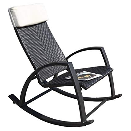 Favorite Xl Rocking Chairs Regarding Amazon : Grand Patio Rattan Rocking Chair With Breathable (View 12 of 20)