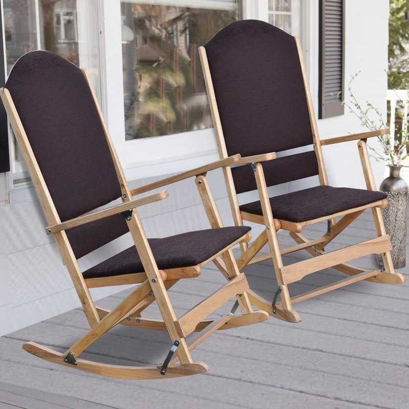 Folding Rocking Chairs Regarding Famous Wildon Home ® Cedar Creek Solid Wood Folding Rocking Chairs (View 9 of 20)