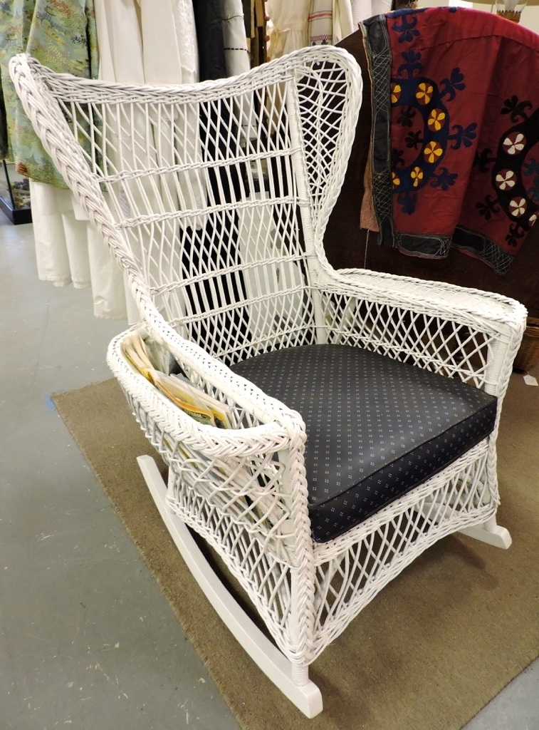 Found In Ithaca » Victorian Wicker Rocker With Cushion And Magazine Regarding Most Recent Wicker Rocking Chair With Magazine Holder (View 5 of 20)