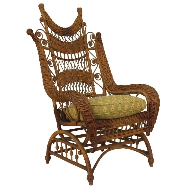 Franco Albini Style Wicker Rocking Chair And Magazine Rack For Sale With Most Up To Date Wicker Rocking Chair With Magazine Holder (View 10 of 20)
