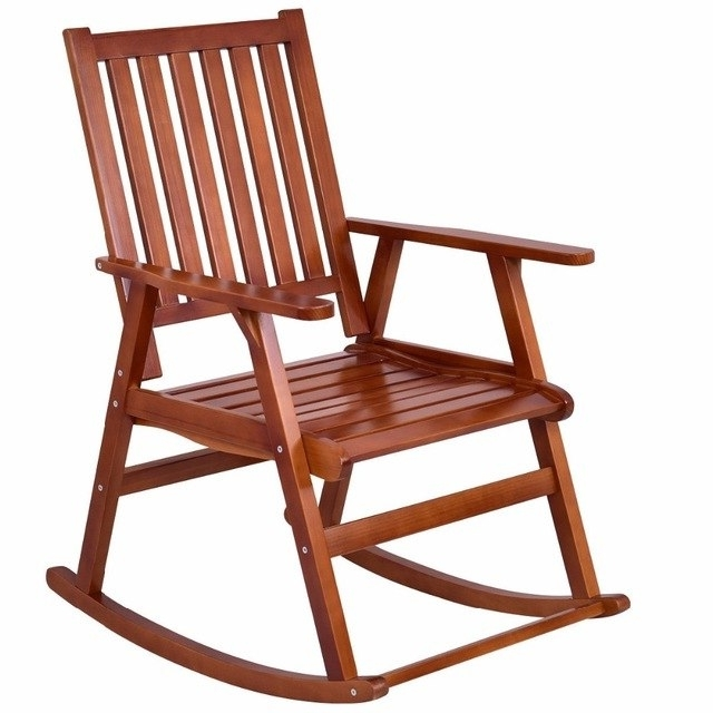 Giantex Wood Rocking Chair Garden Single Porch Rocker Indoor Outdoor Within Best And Newest Patio Wooden Rocking Chairs (View 2 of 20)
