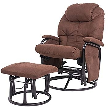 Glide Rocking Chair Attractive Amazon Com Merax Brown Luxury Suede Regarding Most Current Amazon Rocking Chairs (View 14 of 20)
