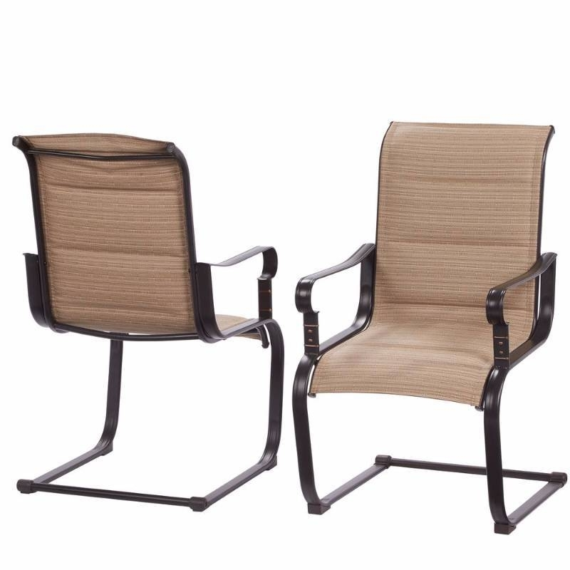 Hampton Bay Belleville Rocking Padded Sling Outdoor Dining Chairs (2 Pertaining To Most Up To Date Hampton Bay Rocking Patio Chairs (View 7 of 20)