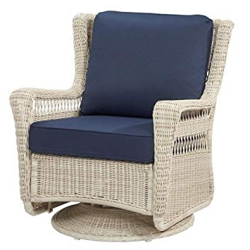 Hampton Bay Rocking Patio Chairs Intended For Popular Amazon: Hampton Bay Park Meadows Off White Swivel Rocking Wicker (View 9 of 20)