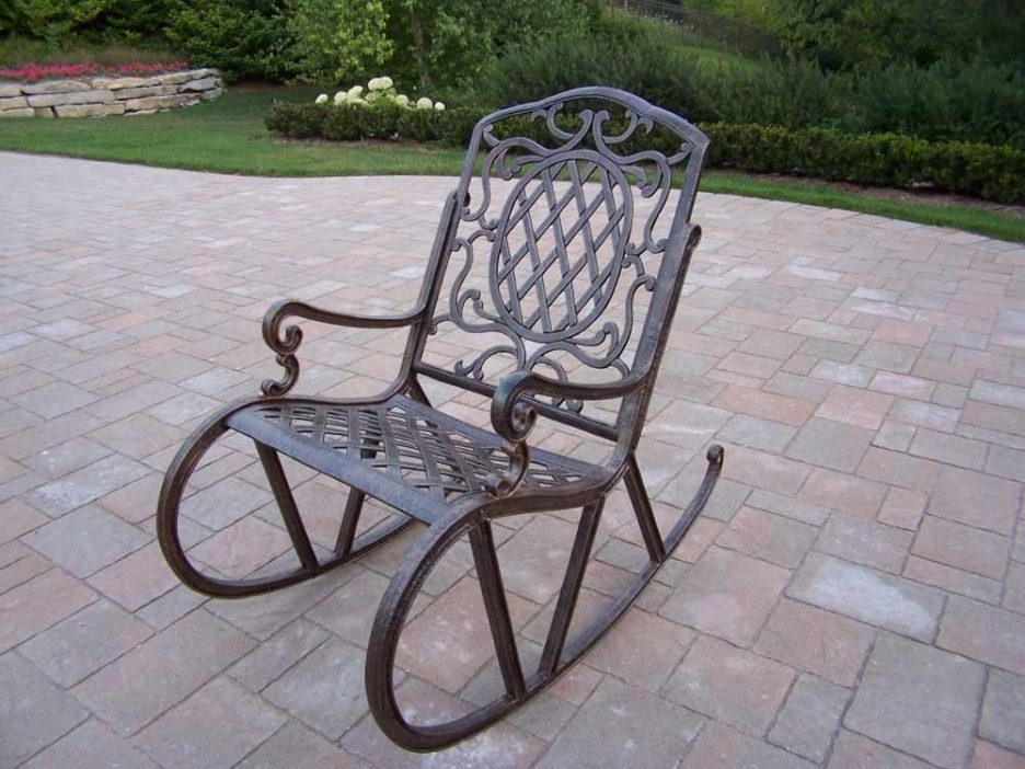 Iron Rocking Patio Chairs Pertaining To Most Popular Wrought Iron Outdoor Sofa Wrought Iron Outdoor Rocking Chairs (Gallery 3 of 20)