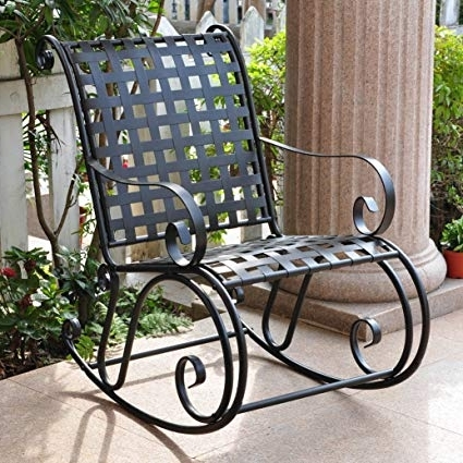 Iron Rocking Patio Chairs With Best And Newest Amazon : Iron Outdoor Patio Rocker : Patio Rocking Chairs (View 6 of 20)