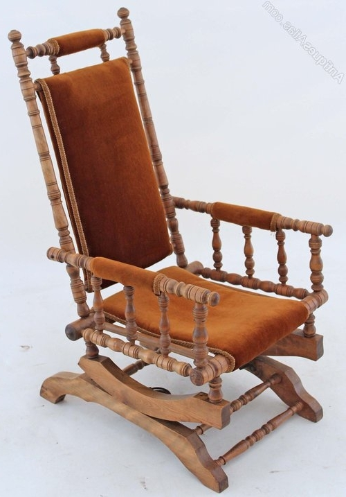 Latest 19c Victorian American Walnut Beech Rocking Chair – Antiques Atlas Pertaining To Antique Rocking Chairs (View 9 of 20)