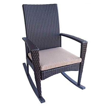 Latest Amazon : Patio Rocking Chair In Espresso Brown Wicker With Pertaining To Brown Patio Rocking Chairs (View 11 of 20)