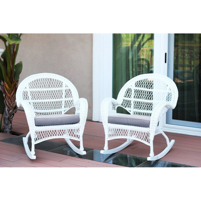 Latest Darby Home Co Berchmans Wicker Rocker Chair With Cushions & Reviews Inside Wicker Rocking Chairs With Cushions (View 7 of 20)