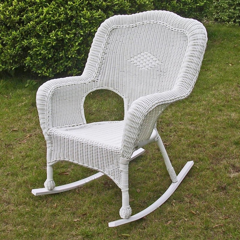 Latest International Caravan Chelsea Wicker Resin Patio Rocking Chair Regarding Wicker Rocking Chairs For Outdoors (View 8 of 20)