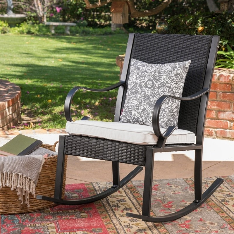 Latest Outdoor Wicker Rocking Chairs With Cushions With Regard To August Grove Kampmann Outdoor Wicker Rocking Chair With Cushions (View 8 of 20)