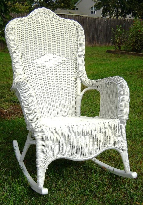 Latest White Wicker Rockers High Back Wicker Rocking Chair White All Pertaining To White Wicker Rocking Chairs (View 7 of 20)
