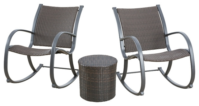 Leann Outdoor 3 Piece Dark Brown Rocking Chair Chat Set In Most Recent Brown Patio Rocking Chairs (View 12 of 20)