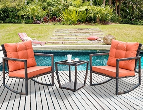 Leisure Zone 3 Pcs Wicker Patio Rocking Chair Armchair Outdoor Porch Within Most Popular Patio Rocking Chairs And Table (View 7 of 20)