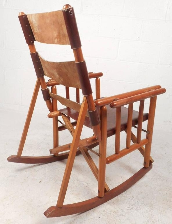 Mid Century Modern Costa Rican Leather Campaign Folding Rocking Pertaining To Newest Folding Rocking Chairs (View 15 of 20)