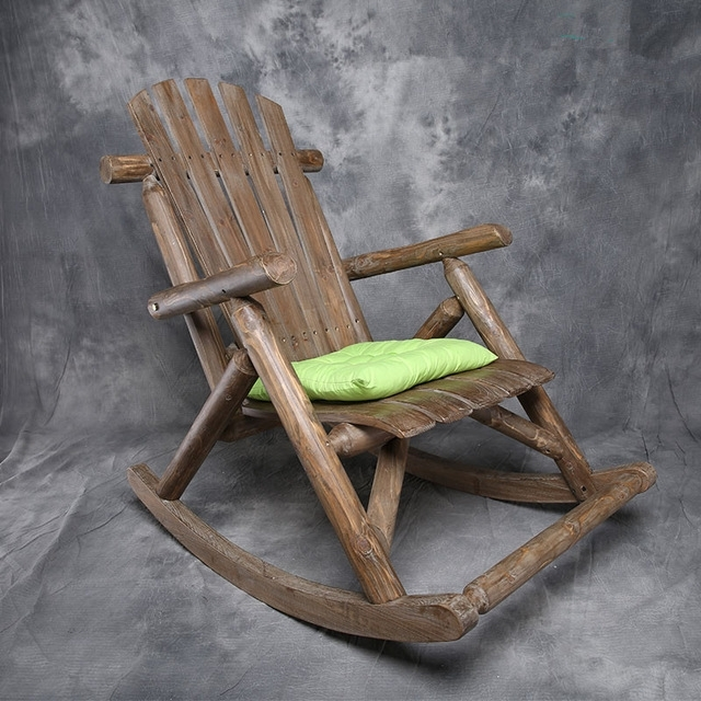Modern Solid Wood Rocking Chair Antique/natural Outdoor Furniture For Well Known Rocking Chairs For Garden (View 5 of 20)