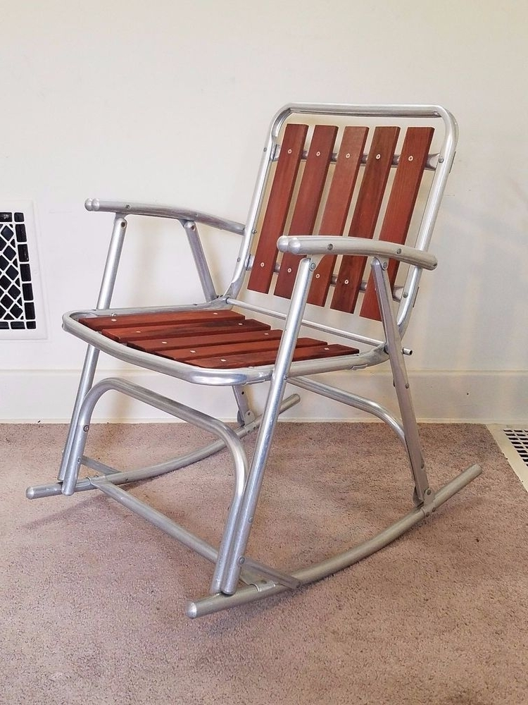 Most Popular Aluminum Patio Rocking Chairs Throughout Vintage Redwood Slat Aluminum Lawn Rocker Rocking Chair Folding (View 15 of 20)