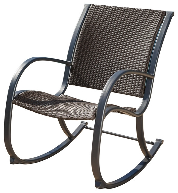 Most Popular Leann Outdoor Dark Brown Wicker Rocking Chair – Contemporary With Resin Wicker Patio Rocking Chairs (View 3 of 20)