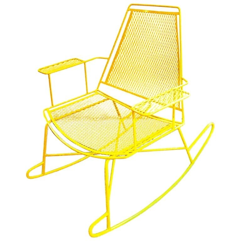 Most Popular Mid Century Metal Mesh Patio Rocking Chair At 1stdibs Regarding Outdoor Patio Metal Rocking Chairs (View 11 of 20)