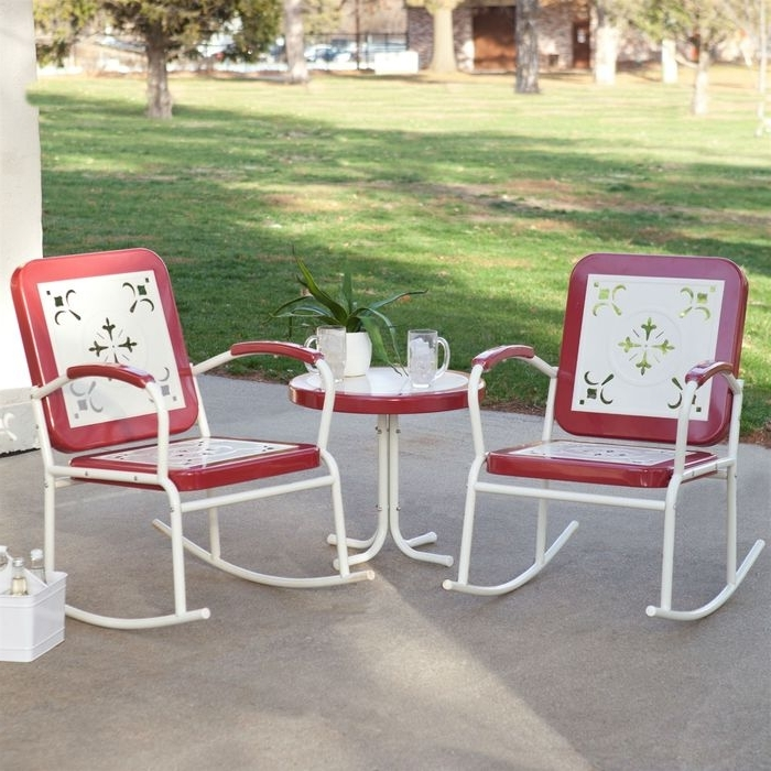 Most Popular Retro Outdoor Rocking Chairs Within Coral Coast Paradise Cove Retro 3 Piece Metal Rocking Chair Patio (View 8 of 20)