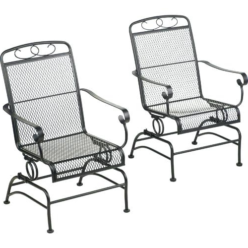 Most Popular Rocking Outdoor Chair Steel Mesh Spring Rocking Chairs Set Of 2 With Regard To Outside Rocking Chair Sets (View 5 of 20)