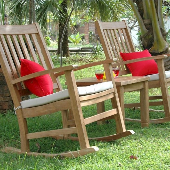 Most Recent Anderson Teak Palm Beach 2 Person Teak Patio Rocking Chair Set With Regard To Outside Rocking Chair Sets (View 9 of 20)
