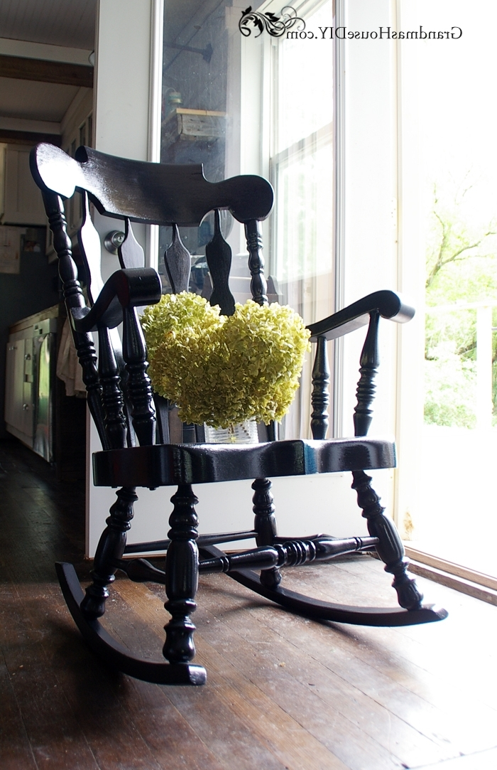 Most Recent Black Painted Rocking Chair Goes From Dated To Stunning Regarding Black Rocking Chairs (View 12 of 20)